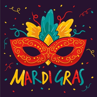 手描きのマルディグラのマスク