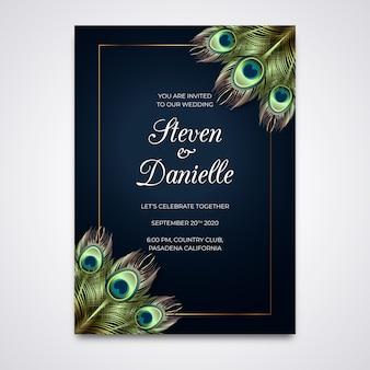 Шаблон свадебного приглашения с перьями павлина