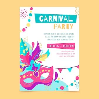 Нарисованный от руки плакат карнавальной вечеринки