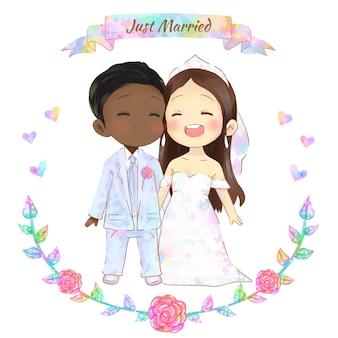 水彩の結婚式のカップル