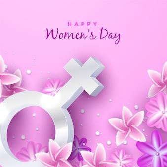 花を持つ現実的な女性の日
