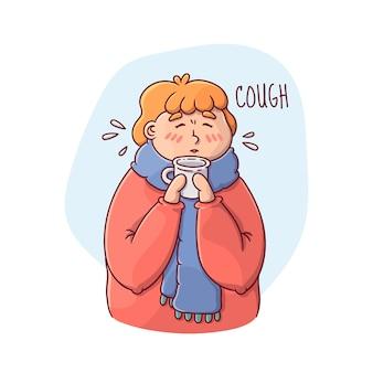 Иллюстрация человека с простудой