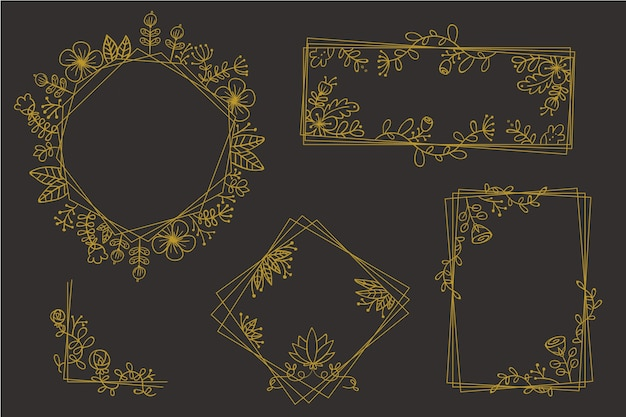 エレガントな花と黄金の多角形フレーム