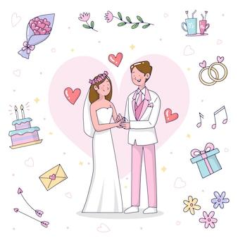 Нарисованная вручную иллюстрация свадебных пар
