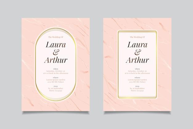 結婚式の大理石カードテンプレートコンセプト