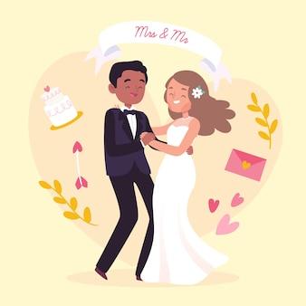 Рисунок иллюстрации свадьбы пара