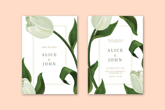 花をテーマにしたエレガントな結婚式の招待状