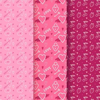 手描きのバレンタインパターンコレクション