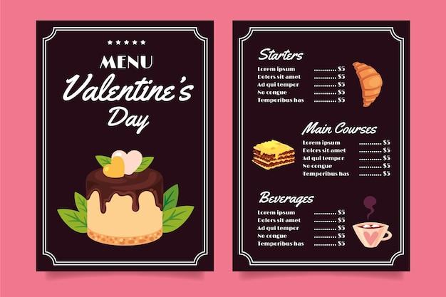Шаблон меню ресторана день святого валентина