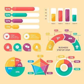 レトロな色の平らなインフォグラフィック