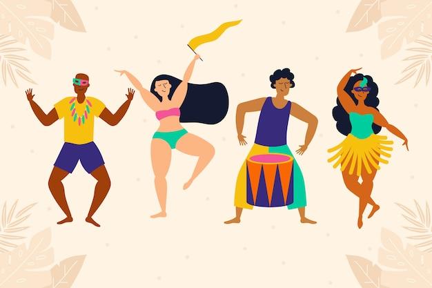 Коллекция карнавальных людей, танцующих