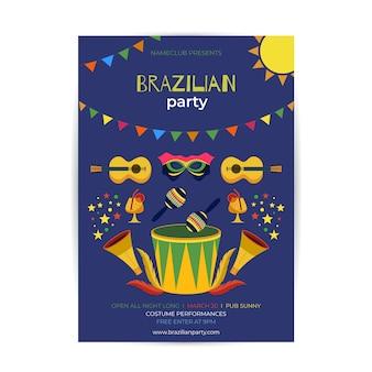 Плоский бразильский шаблон плаката карнавала