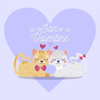 ロマンティバレンタインデーの動物のカップル