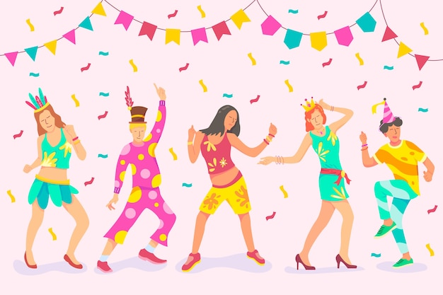 Иллюстрация с коллекцией карнавальных танцоров