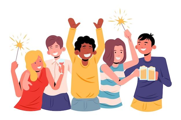 Люди празднуют вместе концепцию