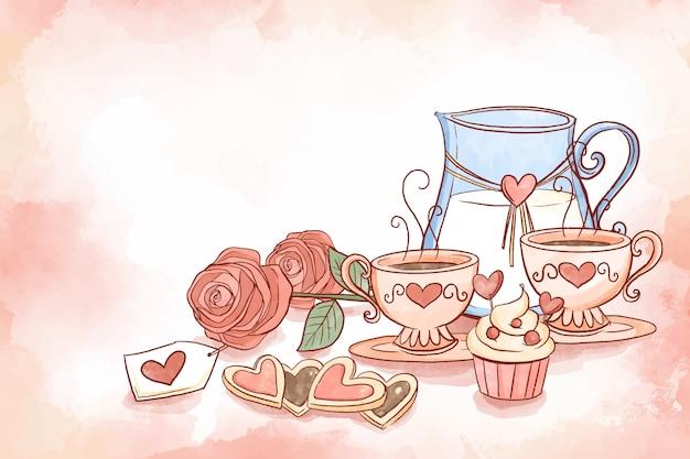 カップとピッチャーバレンタイン背景のセット