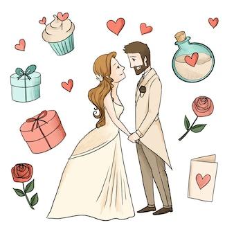包まれた贈り物と水彩の結婚式のカップル