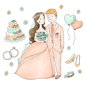 ケーキと風船で描かれた結婚式のカップルを手します。