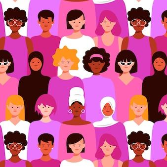 群衆の中に女性とのシームレスなパターン