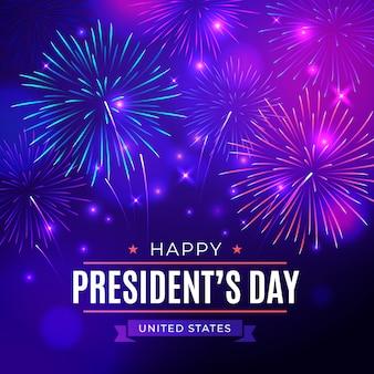 Красочный фейерверк на президентский день
