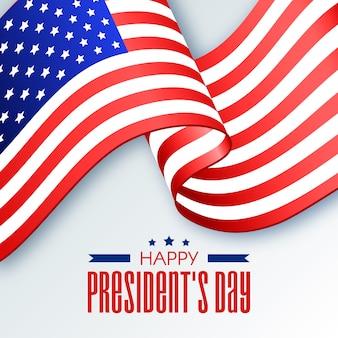 大統領の日のアメリカ合衆国リボンフラグ