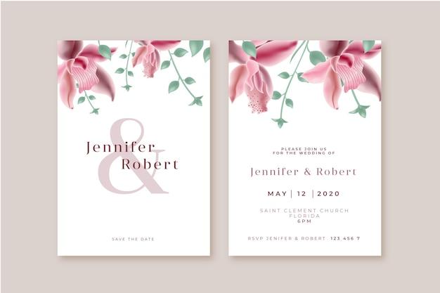 花の結婚式の招待状のコンセプト