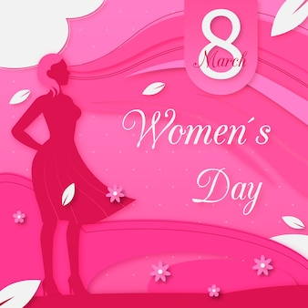 Международный женский день в бумажном стиле