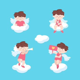 雲のバレンタインデーに座っているキューピッドの天使