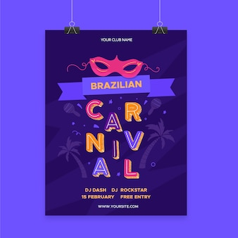 Шаблон плаката бразильского карнавала