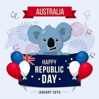 オーストラリアの日のフラットなデザインのお祝い