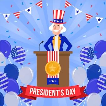 大統領の日のイベントのためのフラットなデザイン