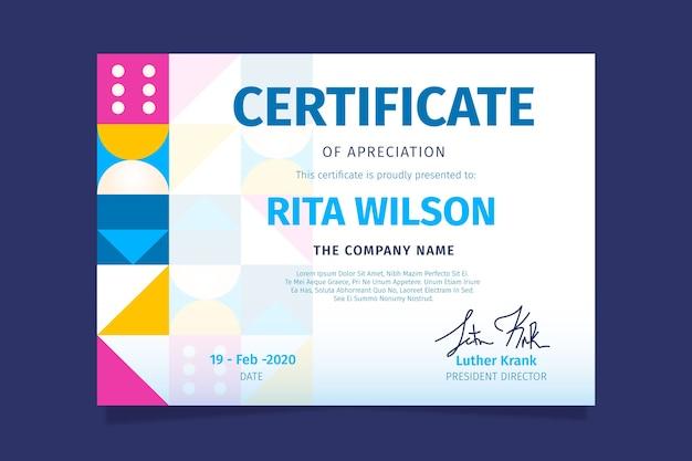 Абстрактная геометрическая тема сертификата для шаблона