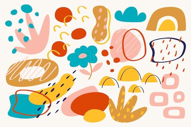 手描きの抽象的な有機図形の壁紙