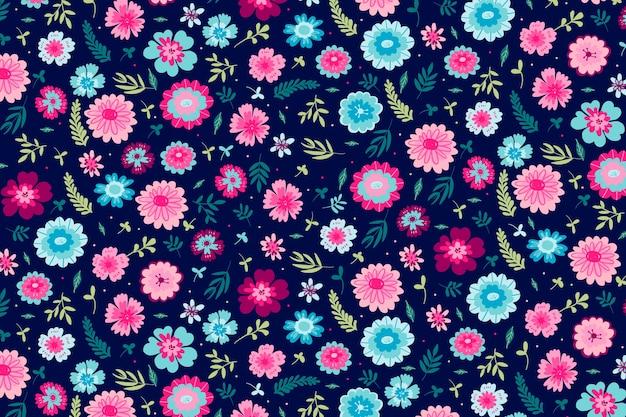カラフルな頭が変な花柄の背景テーマ
