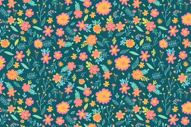 カラフルな頭が変な花柄背景コンセプト
