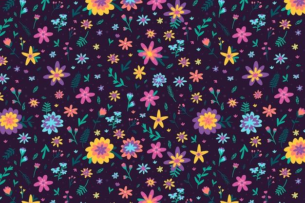 カラフルな頭が変な花柄の背景デザイン