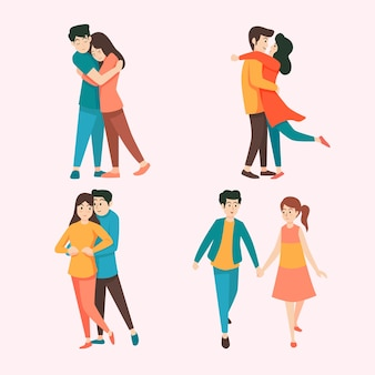 バレンタインの日のカップルのコレクションのテーマ