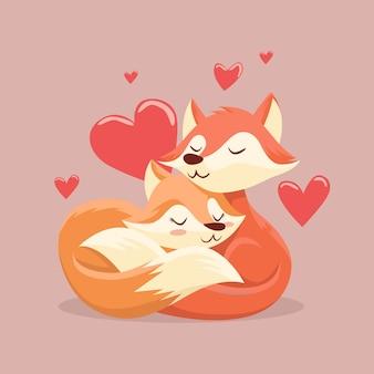 イラストのかわいいバレンタインデー動物カップルテーマ