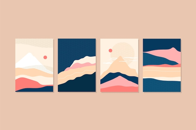 最小限の日本の表紙コレクションのコンセプト