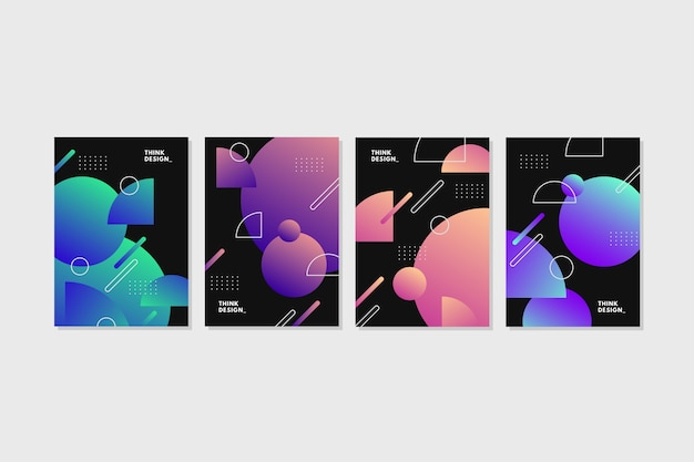 暗い背景に幾何学的なグラデーション図形カバー