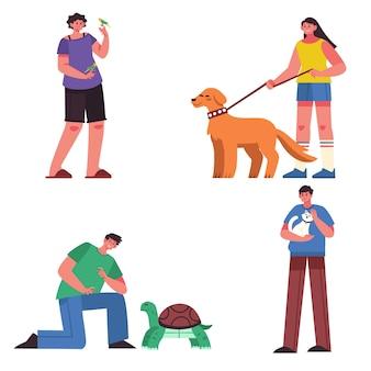 Люди с различными концепциями иллюстрации домашних животных