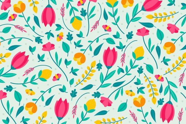 Разноцветный дизайн обоев с цветочным принтом