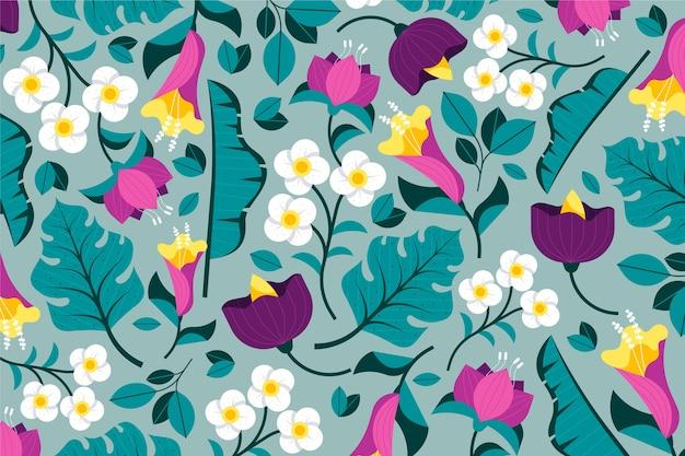 カラフルなエキゾチックな花の背景のテーマ