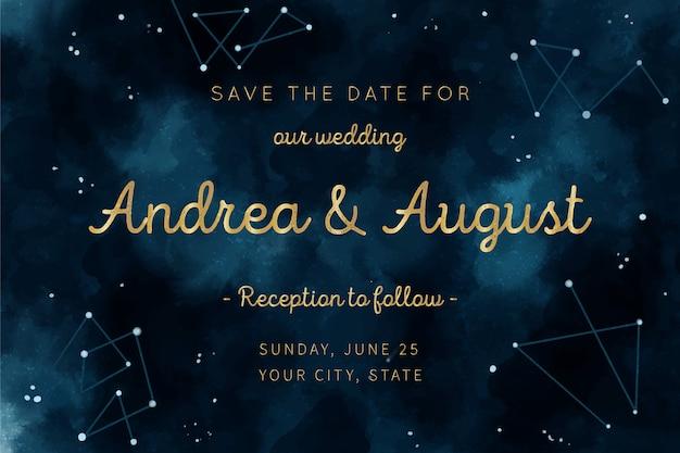 Концепция акварель галактики для свадебного приглашения