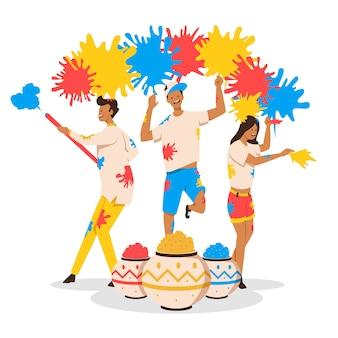 ホーリー祭の図の概念を祝う人々