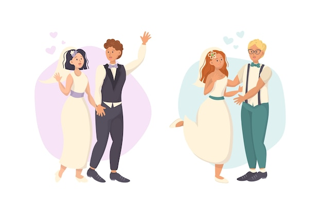 手描きの結婚式のカップルコレクションテーマ