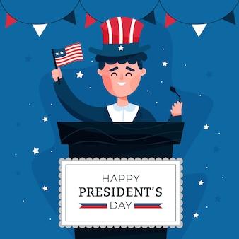 フラットデザイン大統領の日のお祝い