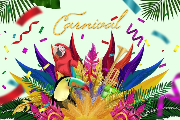 Реалистичный красочный бразильский карнавал