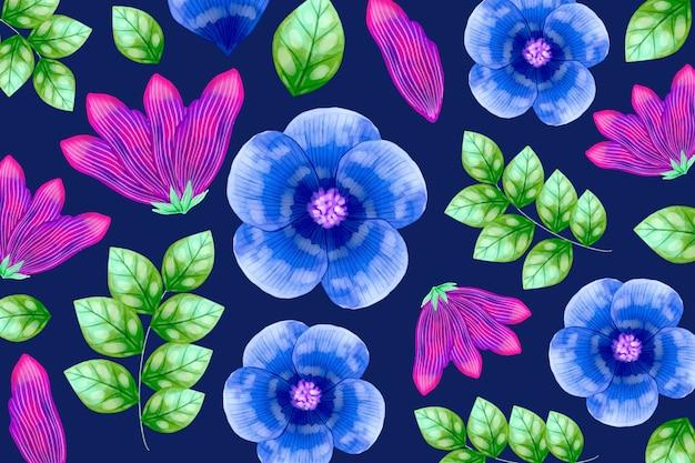 花と熱帯の葉のシームレスパターン