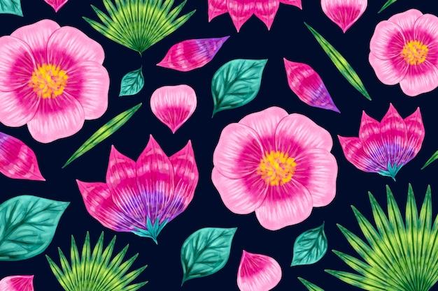 シームレスなグラデーションピンク花柄
